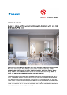 Daikin Altherma HPC belönas med Red Dot Design Award 2020